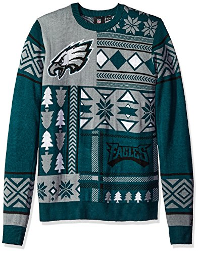 Klew Nfl Men S Philadelphia Eagles Patches Ugly Crew Neck Sweater Green