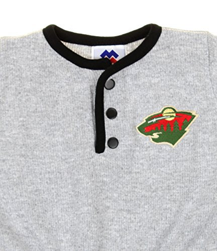 Minnesota Wild NHL Hockey Baby Infant Ribbed Romper Jumper - Grey