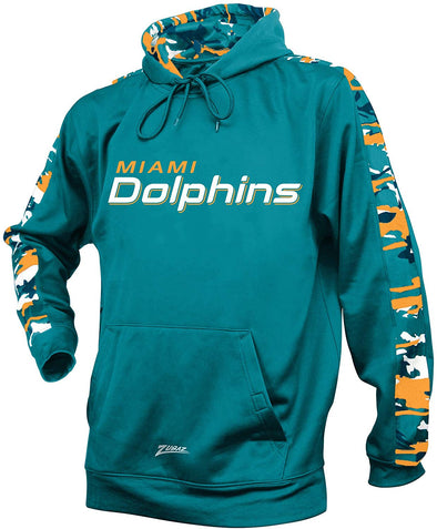 Zubaz NFL Men's Miami Dolphins Pullover Hoodie with Camo Print