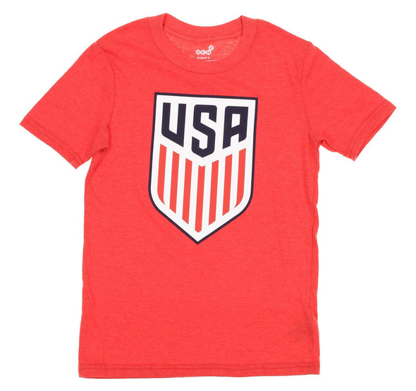 Gen 13 MLS U.S.A Soccer Youth Primary Logo Tri-Blend Short Sleeve T-Shirt, Red