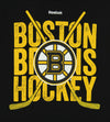 Reebok NHL Youth Boston Bruins Short Sleeve Cross Sticks Tee, Black
