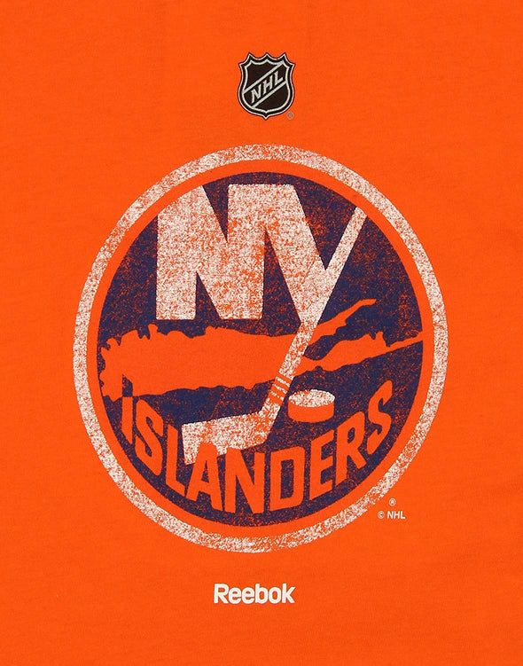 Reebok NHL Youth New York Islanders Long Sleeve Distressed Logo Tee, Orange