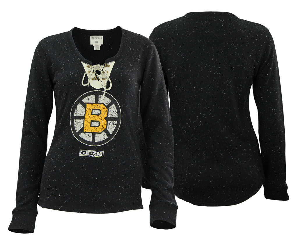 CCM NHL Women s Boston Bruins Lace Up Henley Shirt – Fanletic e60b0350e