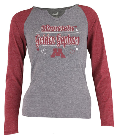 Gen 2 NCAA Youth Girls (4-16) Minnesota Golden Gophers Long Sleeve Tri-Blend Tee