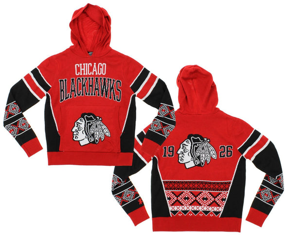 NHL Youth Chicago Blackhawks Holiday Ugly Hoodie, Red / Black