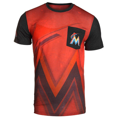 KLEW 2016 MLB Men's Miami Marlins Cotton Poly Pocket Logo Tee T-shirt