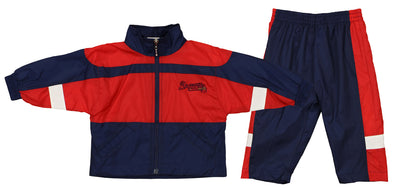 Atlanta Braves MLB Boys Girls Infant Jacket & Pants Wind Suit Set, Navy & Red