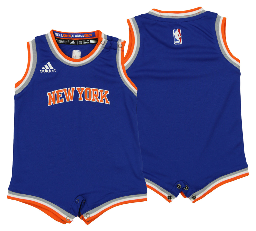 promo code 7122a bb69c Adidas NBA Infant New York Knicks Replica Road Creeper Jersey, Blue