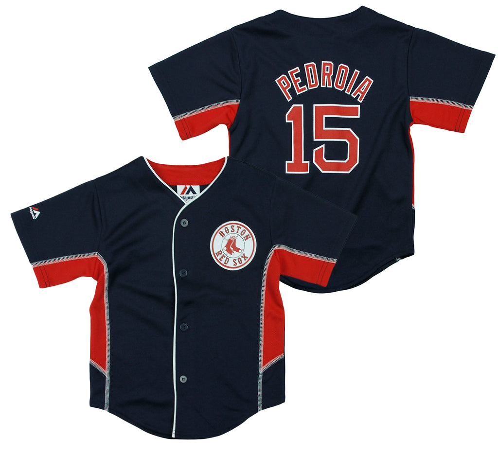 reputable site 7f675 0127e Majestic MLB Toddlers Boston Red Sox Dustin Pedroia #15 Team Leader Jersey,  Navy