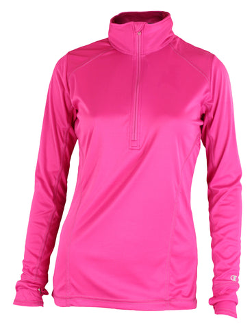 Champion Womens PowerTrain Vapor 1/4 Zip Pullover Top, Knockout Pink