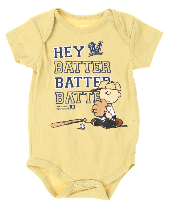 MLB Infants Milwaukee Brewers Peanuts Love Baseball Creeper, Tan