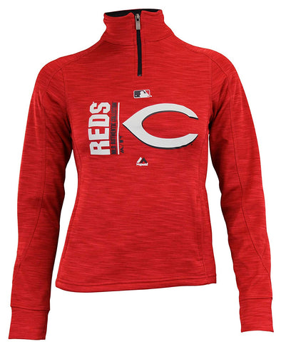 Majetics MLB Youth Girls Cincinnati Reds AC Team Icon 1/4 Zip Fleece Sweater