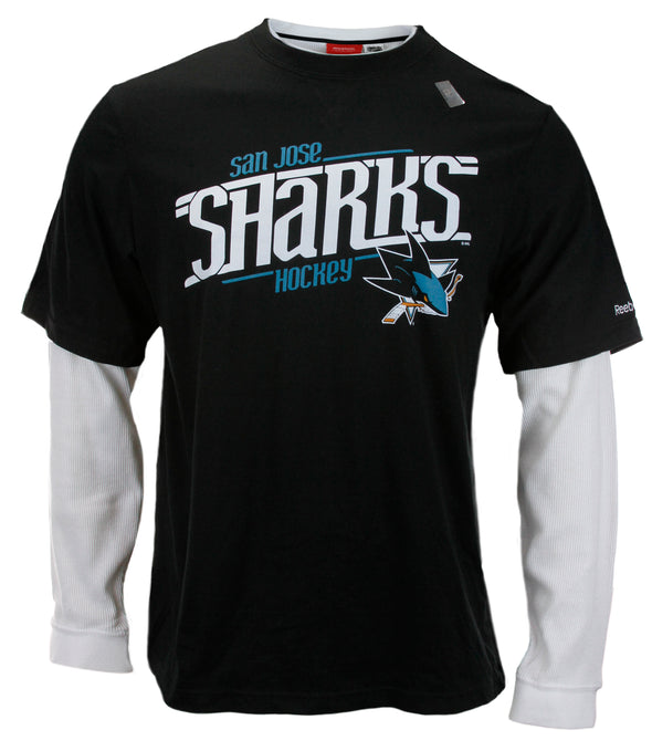 Reebok NHL Men's San Jose Sharks Long Sleeve Thermal Novelty Shirt - Black