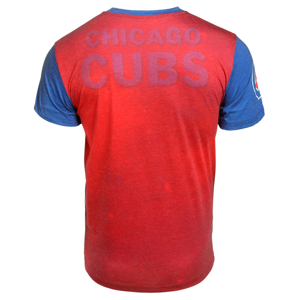 KLEW MLB Men's Chicago Cubs Big Graphics Pocket Logo Tee T-shirt, Red