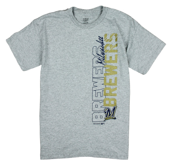 MLB Baseball Youth Boys Milwaukee Brewers Vertical Graphic Tee T-Shirt, Grey
