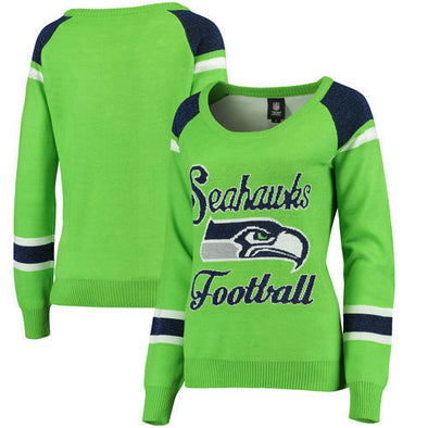 Forever Collectibles NFL Women's Seattle Seahawks Glitter Scoop Neck Sweater