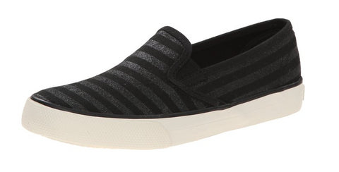 Sperry Kids Top-Sider Seaside Slip On Sneaker, Black Glitter