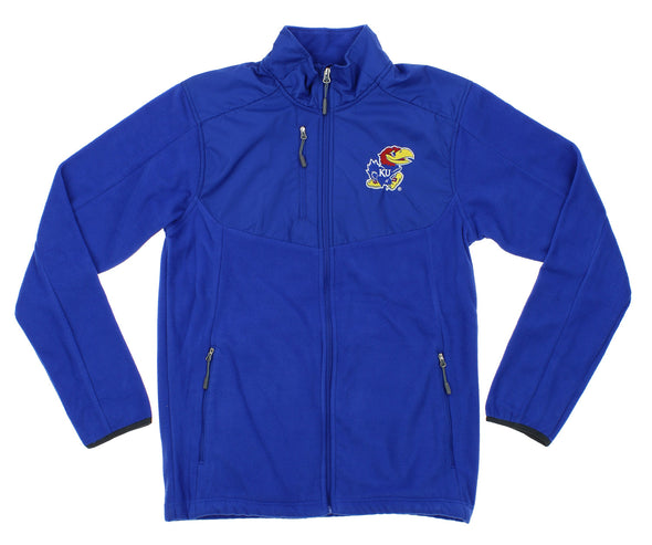 NCAA Men's Kansas Jayhawks Tactical Polar Fleece Full Zip Jacket, Blue