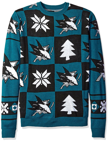 Forever Collectibles NHL San Jose Sharks Unisex Patches Ugly Sweater