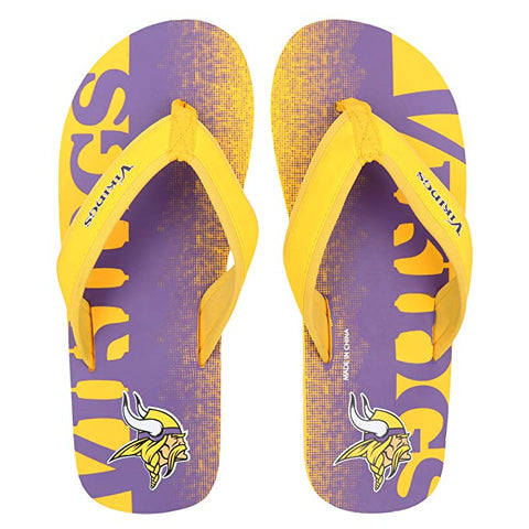 FOCO NFL Men's Minnesota Vikings Contour Fade Wordmark Thong Sandals