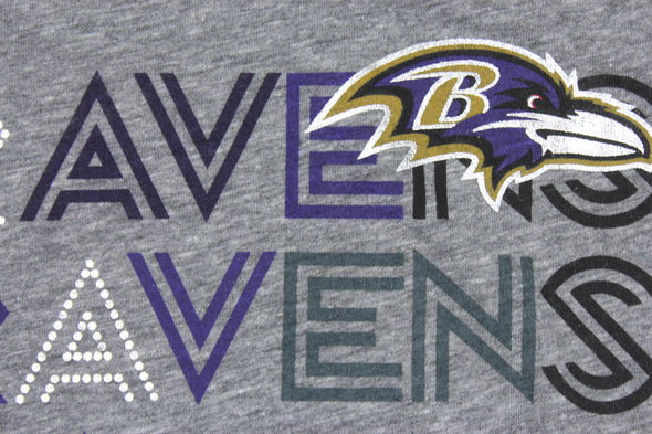 Baltimore Ravens NFL Football Youth Girls Short Sleeve Tri-Blend Tee Shirt, Grey
