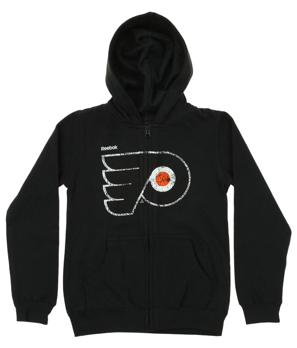 Reebok NHL Youth Girls Philadelphia Flyers Fleece Tried and Zipped Hood, Black