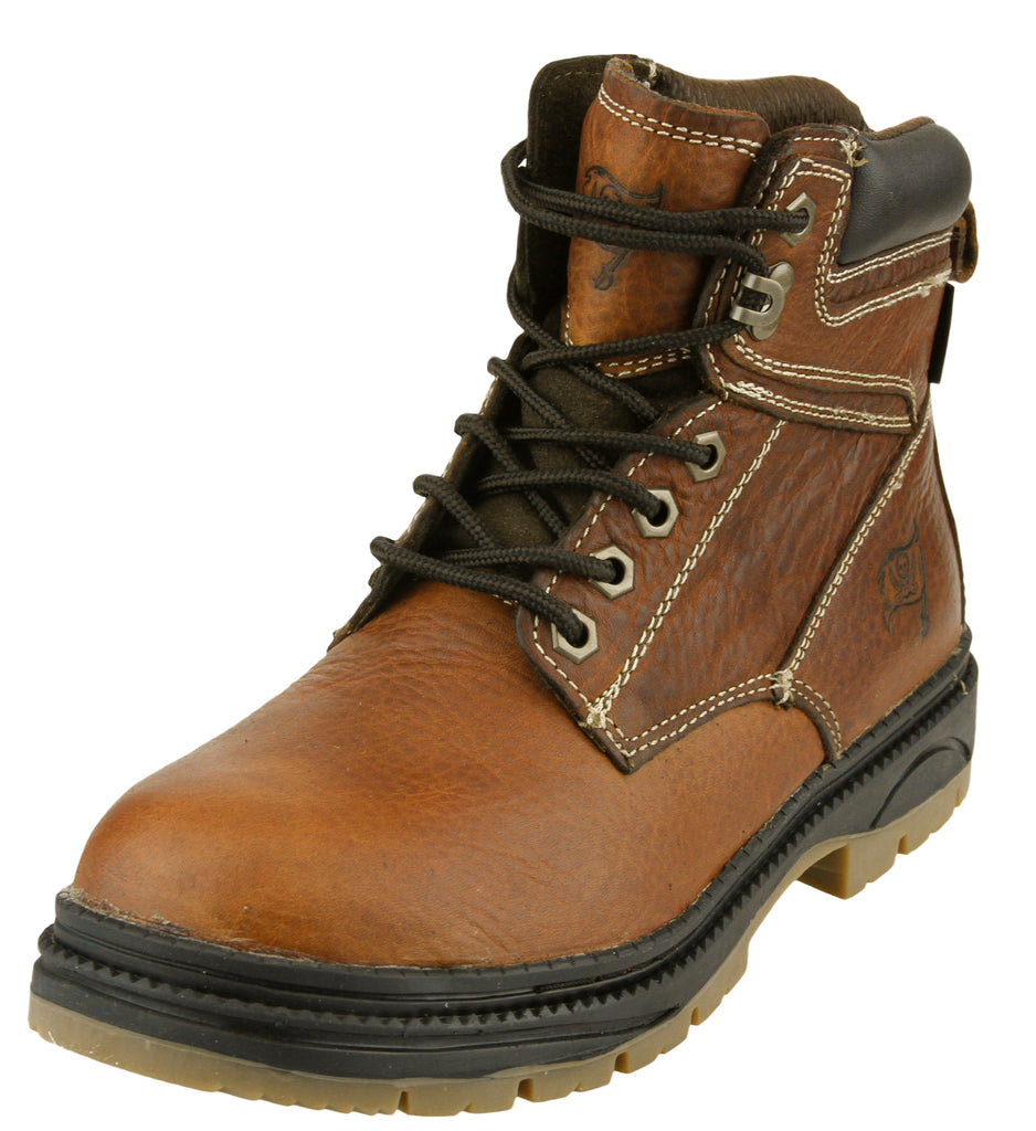 e301dd214cf NFL Men's Tampa Bay Buccaneers Rounded Steel Toe Lace Up Leather Work Boots  - Brown