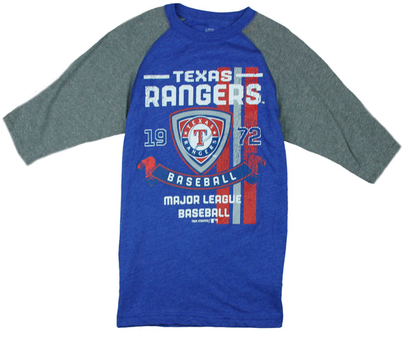 MLB Youth Boys Texas Rangers Vintage Baseball Shirt - Blue and Grey