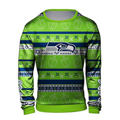Forever Collectibles NFL Men's Hanukkah Seattle Seahawks Ugly Crew Neck Sweater