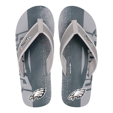 FOCO NFL Men's Philadelphia Eagles Contour Fade Wordmark Thong Sandals