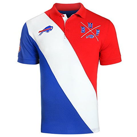 KLEW NFL Football Men's Buffalo Bills Rugby Diagonal Stripe Polo Shirt