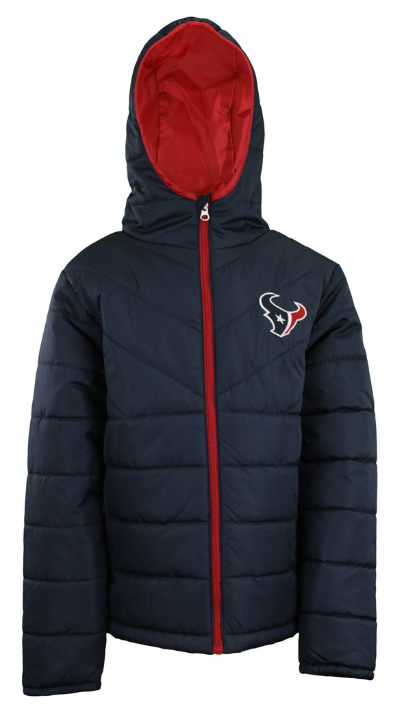 OuterStuff NFL Youth Boys (4-18) Houston Texans Puffer Jacket, Navy