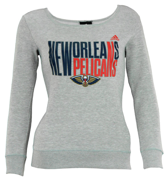 Adidas NBA Youth Girls New Orleans Pelicans Shrinking Type Fleece Shirt, Gray