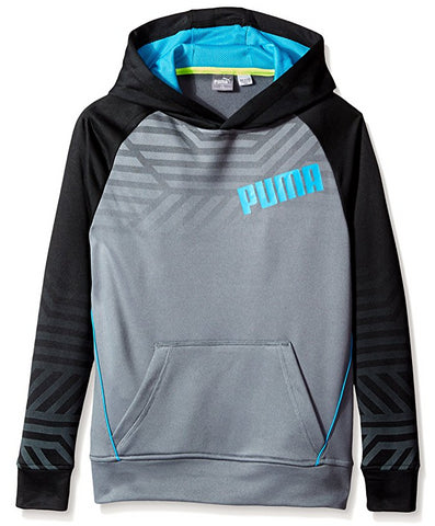PUMA Youth Active Pullover Hoodie, Gray / Black
