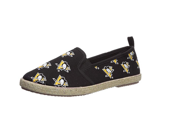 FOCO NHL Women's Pittsburgh Penguins Espadrille Canvas Slip On Shoe