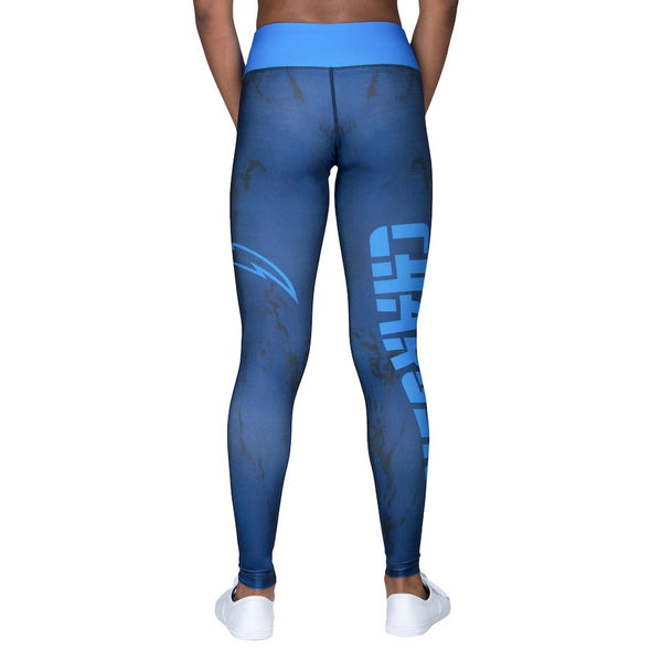 Forever Collectibles NFL Women's Los Angeles Chargers Marble Wordmark Leggings