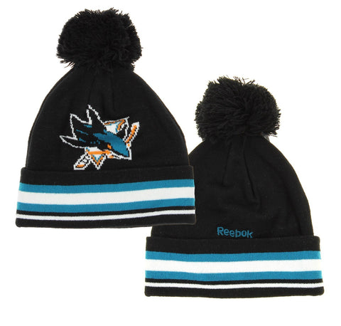 NHL Reebok San Jose Sharks Youth Face Off Cuffed Knit Winter Hat With Pom, Black