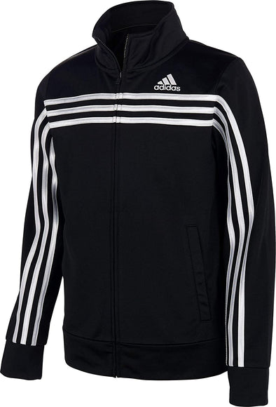 Adidas Boys Youth Color Block Tricot Track Jacket, Black