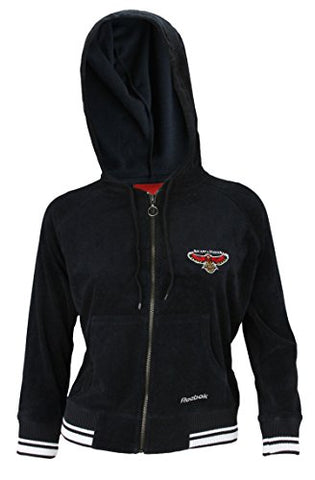 Reebok NBA Womens Atlanta Hawks Terry Cloth Full Zip Hoodie Sweatshirt, Black