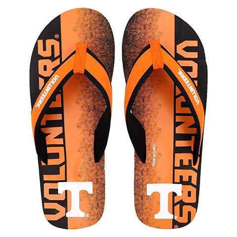 FOCO NCAA Men's Tennessee Volunteers Contour Fade Wordmark Thong Sandals