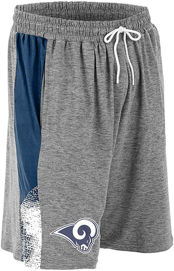 Zubaz NFL Football Mens Los Angeles Rams Gray Space Dye Shorts