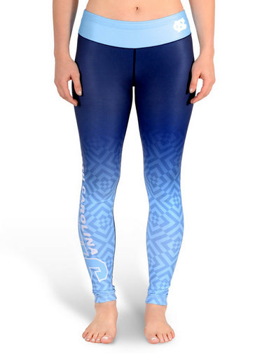 NCAA Women's North Carolina Tar Heels Gradient Print Leggings, Navy
