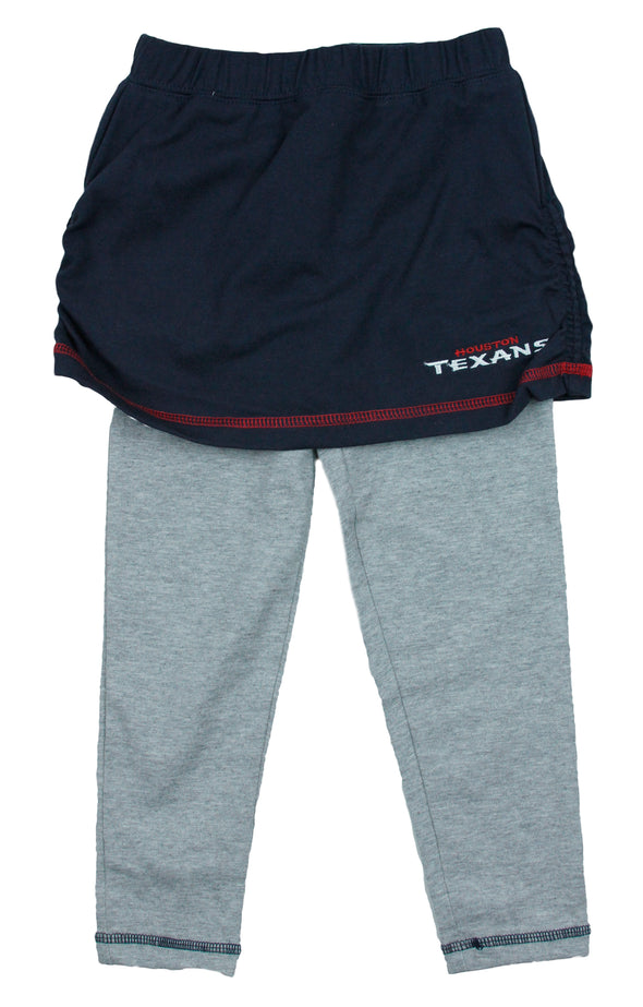NFL Little Girls Kids Houston Texans Crew Top and Skirt with Leggings Set