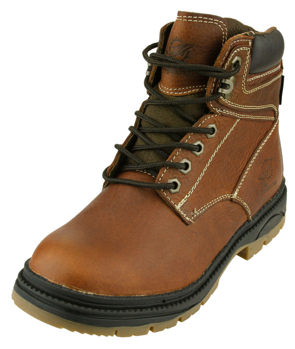 NFL Men's Minnesota Vikings Rounded Steel Toe Lace up Leather Work Boots - Brown