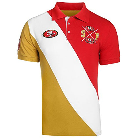 KLEW NFL Football Men's San Francisco 49ers Rugby Diagonal Stripe Polo Shirt