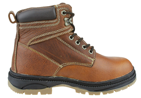 NFL Men's Detroit Lions Rounded Steel Toe Lace up Leather Work Boots - Brown