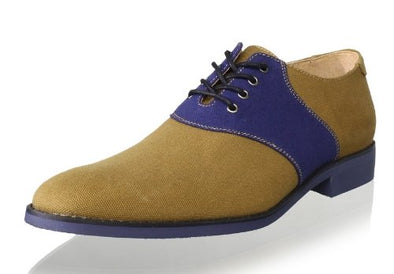 JD Fisk Men's Galvin Oxfords Canvas Lace Up Casual Dress Shoes, Navy and Tan