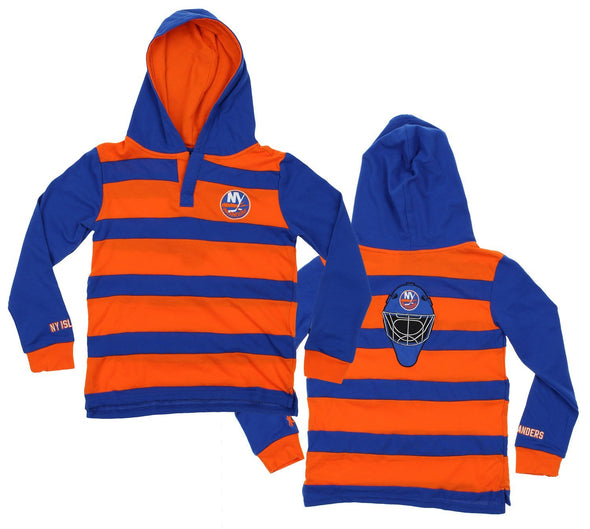 KLEW NHL Youth New York Islanders Striped Rugby Pullover Shirt