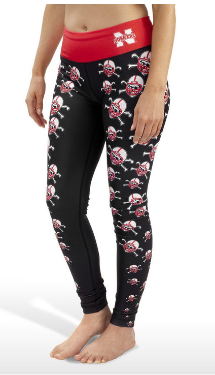 NCAA Women's Nebraska Cornhuskers Thematic Print Leggings, Black