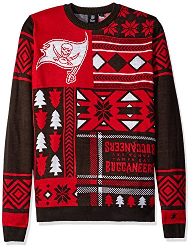Klew NFL Men's Tampa Bay Buccaneers Patches Ugly Sweater, Red
